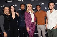 "LOS ANGELES - JAN 14:  J.J. Soria, Katrina Law, Cory Hardrict, Elisabeth Rohn, Arlen Escarpeta, Ryan Kwanten at the Crackle's ""The Oath"" Photo Call at the Langham Huntington Hotel on January 14, 2018 in Pasadena, CA"