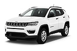 2017 Jeep Compass Sport 2wd 5 Door SUV angular front stock photos of front three quarter view