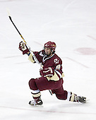 Nathan Gerbe 9 of Boston College celebrates his goal. The Boston College Eagles defeated the University of Wisconsin Badgers 3-0 on Friday, October 27, 2006, at the Kohl Center in Madison, Wisconsin in their first meeting since the 2006 Frozen Four Final which Wisconsin won 2-1 to take the national championship.<br />