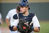 Catcher Hayden Senger (15) of the Columbia Fireflies warms up before a game against the Rome Braves on Saturday, August 17, 2019, at Segra Park in Columbia, South Carolina. Rome won, 4-0. (Tom Priddy/Four Seam Images)