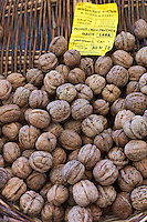 Fresh walnuts on sale at food market at La Reole in Bordeaux region of France