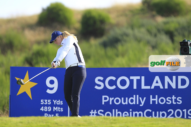 Anna Nordqvist Team Europe on the 9th tee during Day 1 Fourball at the Solheim Cup 2019, Gleneagles Golf CLub, Auchterarder, Perthshire, Scotland. 13/09/2019.<br /> Picture Thos Caffrey / Golffile.ie<br /> <br /> All photo usage must carry mandatory copyright credit (© Golffile | Thos Caffrey)