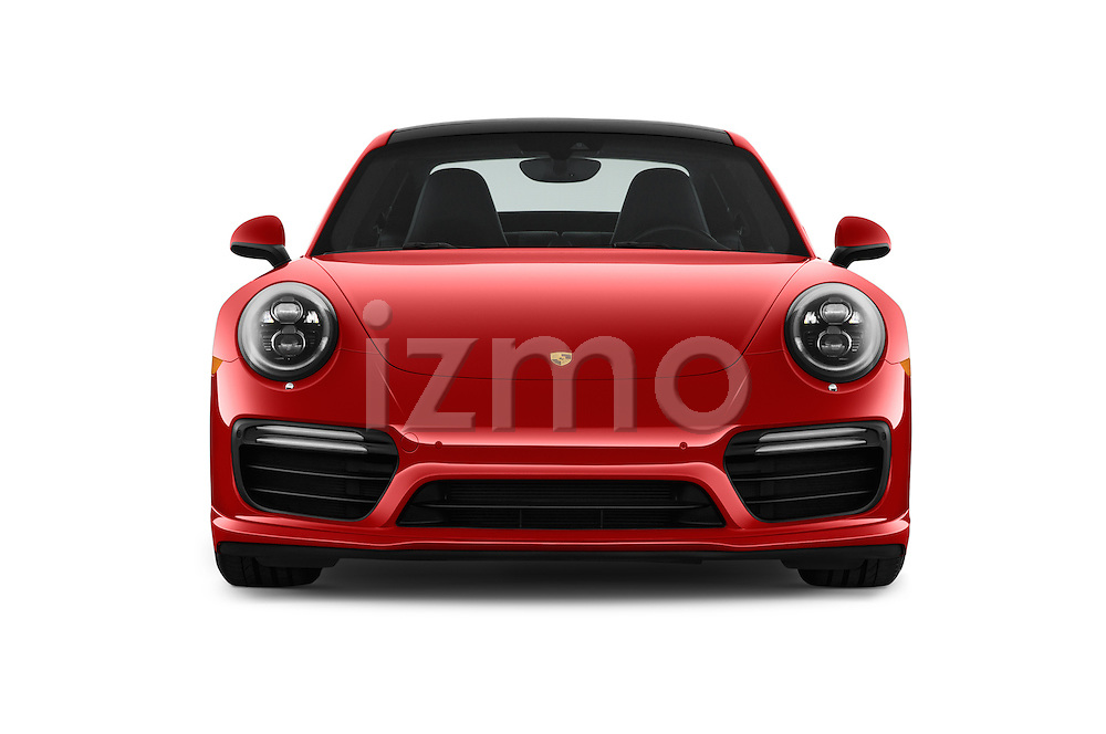Car photography straight front view of a 2017 Porsche 911 Turbo 2 Door Coupe Front View