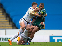 London Irish's Joe Cokanasiga is tackled by Exeter Chiefs' Henry Slade and Ian Whitten<br /> <br /> Photographer Bob Bradford/CameraSport<br /> <br /> Aviva Premiership Round 20 - London Irish v Exeter Chiefs - Sunday 15th April 2018 - Madejski Stadium - Reading<br /> <br /> World Copyright &copy; 2018 CameraSport. All rights reserved. 43 Linden Ave. Countesthorpe. Leicester. England. LE8 5PG - Tel: +44 (0) 116 277 4147 - admin@camerasport.com - www.camerasport.com