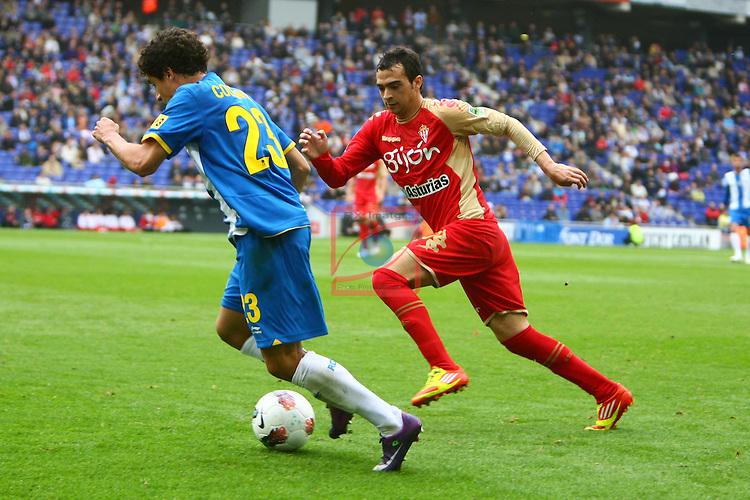 Coutinho vs De las Cuevas. RCD Espanyol vs Sporting Gijon-League BBVA 2011/12-Game 36.