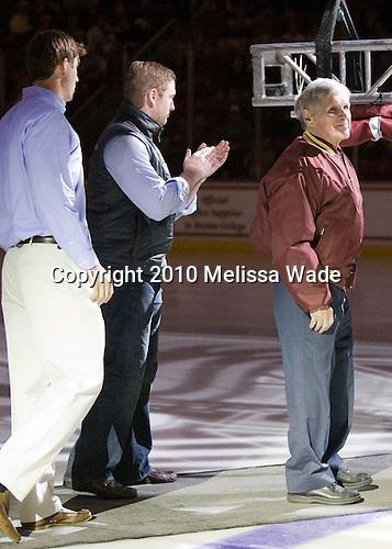 Kyle Kucharski, Bobby Allen, Len Ceglarski - The Boston College Eagles defeated the visiting Merrimack College Warriors 3-2 on Friday, October 29, 2010, at Conte Forum in Chestnut Hill, Massachusetts.