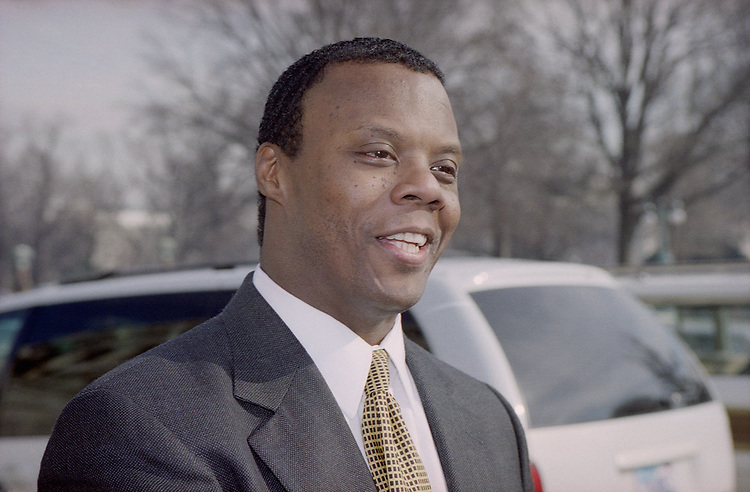 Close-up of Rep. J. C. Watts, R-Okla., in 1996. (Photo by CQ Roll Call)