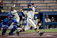 Michigan Wolverines outfielder Jesse Franklin (7) smashes a first inning home run against the Indiana State Sycamores on April 10, 2019 in the NCAA baseball game at Ray Fisher Stadium in Ann Arbor, Michigan. Michigan defeated Indiana State 6-4. (Andrew Woolley/Four Seam Images)