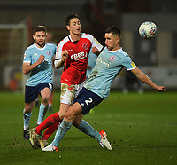 Fleetwood Town's Josh Morris battles with Accrington Stanley's Callum Johnson<br /> <br /> Photographer Dave Howarth/CameraSport<br /> <br /> Leasing.com Trophy Northern Section Round Three - Fleetwood Town v Accrington Stanley - Tuesday 7th January 2020 - Highbury Stadium - Fleetwood<br />  <br /> World Copyright © 2018 CameraSport. All rights reserved. 43 Linden Ave. Countesthorpe. Leicester. England. LE8 5PG - Tel: +44 (0) 116 277 4147 - admin@camerasport.com - www.camerasport.com