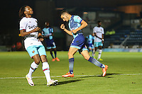 Nick Freeman of Wycombe Wanderers (right) celebrates scoring during the The Checkatrade Trophy match between Wycombe Wanderers and West Ham United U21 at Adams Park, High Wycombe, England on 4 October 2016. Photo by David Horn.