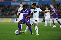 Peter Etebo of Stoke City battles with Wayne Routledge of Swansea City during the Sky Bet Championship match between Swansea City and Stoke City at the Liberty Stadium in Swansea, Wales, UK. Wednesday 09 April 2019