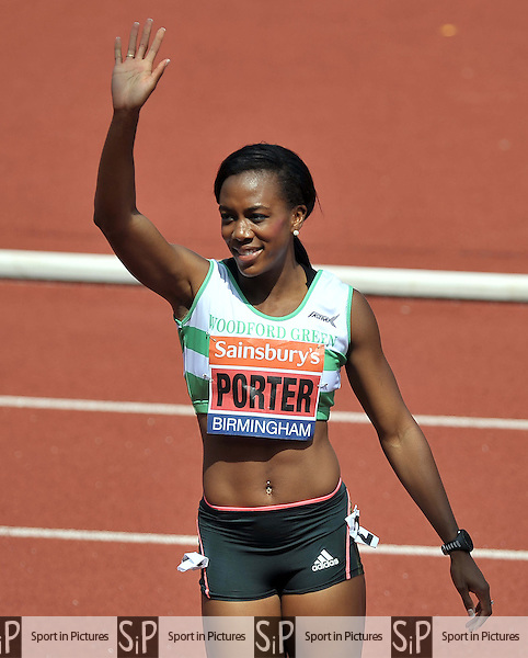 Tiffany PORTER (WOODFORD G) celebrates winning the second heat. Womens 100m Hurdles heat 2. Sainsburys British Championships. Diamond League. Alexander Stadium. Birmingham. UK. 13/07/2013. MANDATORY Credit Garry Bowden/SIPPA - NO UNAUTHORISED USE - 07837 394578
