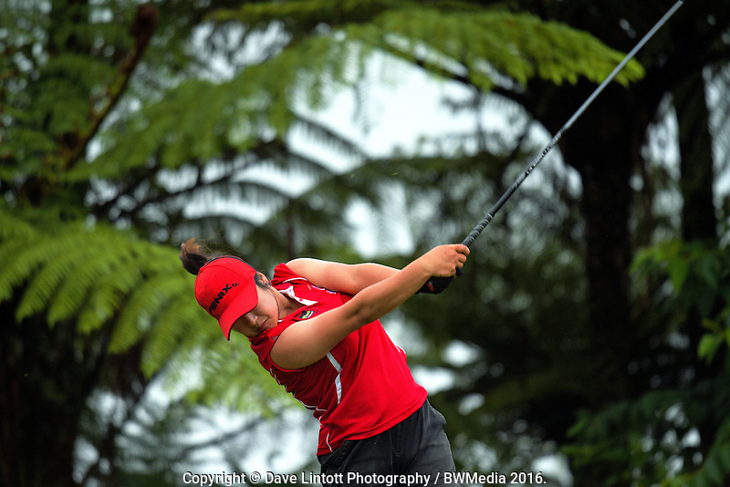 Jasmine Rou (Canterbury) tees off at the 9th. 2016 Toro Women's Interprovincial Golf Championship at Westown Golf Club in New Plymouth, New Zealand on Saturday, 10 December 2016. Photo: Dave Lintott / lintottphoto.co.nz