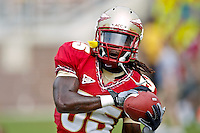 September 04, 2010:   Florida State Seminoles wide receiver Greg Dent (35) warms up prior to the star of action between the Florida State Seminoles and the Samford Bulldogs at Doak Campbell Stadium in Tallahassee, Florida.  Florida State defeated Samford 59-6.
