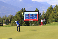 Daniel Im (USA) putts on the 17th green during Thursday's Round 1 of the 2017 Omega European Masters held at Golf Club Crans-Sur-Sierre, Crans Montana, Switzerland. 7th September 2017.<br /> Picture: Eoin Clarke | Golffile<br /> <br /> <br /> All photos usage must carry mandatory copyright credit (&copy; Golffile | Eoin Clarke)