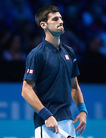 Novak Djokovic (SBR) with a strange expression during the ATP World Tour Final against Andy Murray (GBR), ATP World Tour Finals 2016, Day Eight, O2 Arena, Peninsula Square, London, United Kingdom, 20th Nov 2016