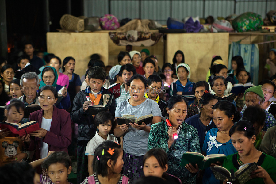 Night Prayer in a IDP Camp in Laiza, Kachin State, March 2012