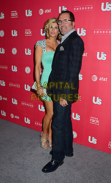 Alexis and Jim Bellino.Us Weekly hosts annual Hot Hollywood Style issue celebrating 2013 fashionable style celebrities, Hollywood, California, USA, .18th April 2013..full length green dress embellished shoulders beaded couple husband wife tartan plaid checked navy suit jacket blazer jeans .CAP/ADM/BT.©Birdie Thompson/AdMedia/Capital Pictures