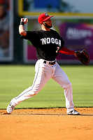 Chattanooga Lookouts Alex Perez (2) throws to first base in the game against the Mobile BayBears on June 3, 2018 at AT&T Field in Chattanooga, Tennessee. (Andy Mitchell/Four Seam Images)