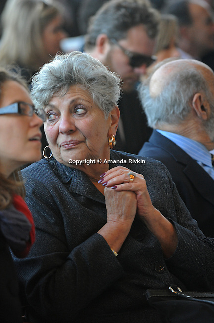 Rahm Emanuel's mother Martha Emanuel sits in the front row at her son's inauguration as Chicago Mayor in Millennium Park, Chicago on May 16, 2011.