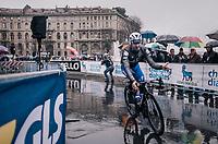 Elia Viviani (ITA/QuickStep Floors) to the sign-on<br /> <br /> 109th Milano-Sanremo 2018<br /> Milano &gt; Sanremo (291km)