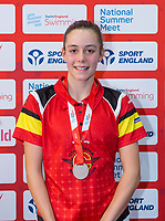 Picture by Allan McKenzie/SWpix.com - 05/08/2017 - Swimming - Swim England National Summer Meet 2017 - Ponds Forge International Sports Centre, Sheffield, England - Sophie Freeman takes silver in the womens 12/13yrs 100m backstroke.