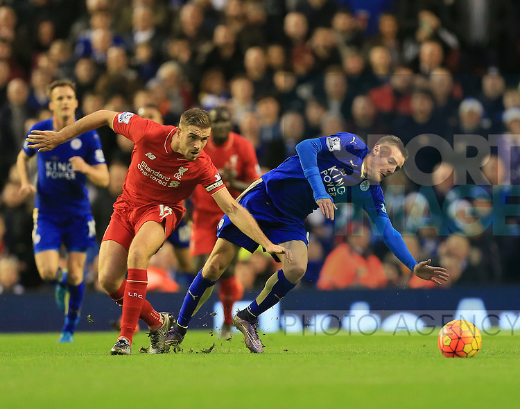 Liverpool's Jordan Henderson tussles with Leicester's Jamie Vardy<br /> <br /> Barclays Premier League- Liverpool vs Leicester City - Anfield - England - 26th December 2015 - Picture David Klein/Sportimage