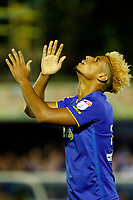 AFC Wimbledon's Lyle Taylor cuts a frustrated figure during the Sky Bet League 1 match between AFC Wimbledon and MK Dons at the Cherry Red Records Stadium, Kingston, England on 22 September 2017. Photo by Carlton Myrie / PRiME Media Images.