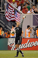 United States goalkeeper Tim Howard (1). The men's national team of Brazil (BRA) defeated the United States (USA) 2-0 during an international friendly at the New Meadowlands Stadium in East Rutherford, NJ, on August 10, 2010.