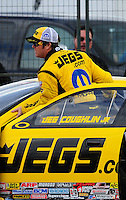Feb. 11, 2012; Pomona, CA, USA; NHRA pro stock driver Jeg Coughlin during qualifying for the Winternationals at Auto Club Raceway at Pomona. Mandatory Credit: Mark J. Rebilas-