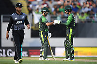 Pakistan's Ahmed Shehzad and Fakhar Zaman (R)<br /> Pakistan tour of New Zealand. T20 Series.2nd Twenty20 international cricket match, Eden Park, Auckland, New Zealand. Thursday 25 January 2018. &copy; Copyright Photo: Andrew Cornaga / www.Photosport.nz