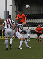 Michael Gardyne climbs above Lee Mair in the St Mirren v Dundee United Clydesdale Bank Scottish Premier League match played at St Mirren Park, Paisley on 27.10.12.