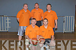 "BASKETBALLERS: Wearing the ornge tee shirts were the team we been tangoed: in the Johnnie Wall basketball Classic in Cumann Iosaef Tralee on Friday. Front l-r; Paddy ""Wacker"" Moriarty and Fergal O'Sullivan. Back l-R; Garreth Moore, Noel McCoy and Alan Cantwell. ."