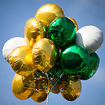 © Joel Goodman - 07973 332324 . 13/03/2016 . Manchester , UK . Tricolore balloons . The St Patrick's Day Parade , celebrating the Irish Community , through Manchester City Centre , in the Spring sunshine . Photo credit : Joel Goodman