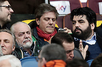 Napoli's president Aurelio De Laurentiis and Italian cook Antonino Cannavacciulo sit on the stand for the Italian Serie A football match between Roma and Napoli at Rome's Olympic stadium, 4 March 2017. <br /> UPDATE IMAGES PRESS/Isabella Bonotto