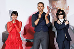 (L to R) Japanese actress Shiori Kutsuna, Canadian actor Ryan Reynolds and heavy metal band X JAPAN singer Toshi, attend the Japan Premiere for the film Deadpool 2 on May 29, 2018, Tokyo, Japan. The second installment of the Marvel hit movie will be released in Japan onJune 1st. (Photo by Rodrigo Reyes Marin/AFLO)