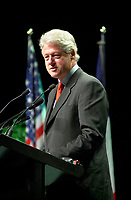 Montreal, Quebec, Canada - 2002 file photo<br /> <br /> Former U.S. president Bill Clinton gives opening lecture at Success 2002, a gathering of marketing and sales leaders.  at Molson Centre in Montreal, Canada<br /> ,in the morning of  March 5, 2002