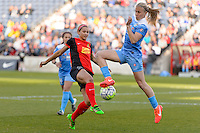 Bridgeview, IL, USA - Saturday, April 23, 2016: Western New York Flash forward Lynn Williams (9) and Chicago Red Stars midfielder Alyssa Mautz (4) during a regular season National Women's Soccer League match between the Chicago Red Stars and the Western New York Flash at Toyota Park. Chicago won 1-0.