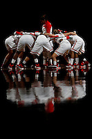 The Ohio State University Womens Basketball team huddles before the start of the first half of their game against the Illinois Fighting Illini at the Value City Arena in Columbus, Ohio on January 30, 2014. (Columbus Dispatch photo by Brooke LaValley)