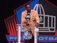 Canton, OH - August 4, 2018: Former NFL wide receiver  Randy Moss gives his Pro Football Hall of Fame enshrinement speech at the Tom Benson Hall of Fame Stadium, August 4, 2018, in Canton, Ohio.  (Photo by Don Baxter/Media Images International)
