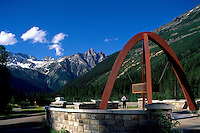 Rogers Pass Summit (Elev 1,382 m / 4,534 ft) in Glacier National Park, BC, British Columbia, Canada - Memorial Arch along Trans Canada Highway 1 in Canadian Rockies