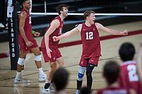 STANFORD, CA - March 2, 2019: Jordan Ewert, Kyler Presho, Jaylen Jasper at Maples Pavilion. The Stanford Cardinal defeated BYU 25-20, 25-20, 22-25, 25-21.