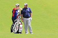 Shane Lowry (IRL) and caddy Demot Byrne on the 1st hole during Saturday's Round 3 of the 2017 PGA Championship held at Quail Hollow Golf Club, Charlotte, North Carolina, USA. 12th August 2017.<br /> Picture: Eoin Clarke | Golffile<br /> <br /> <br /> All photos usage must carry mandatory copyright credit (&copy; Golffile | Eoin Clarke)