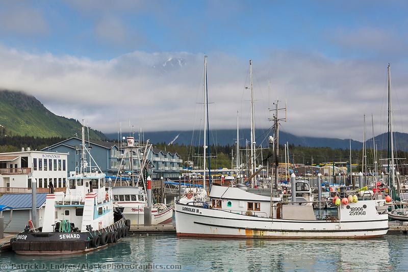 Fishing boats docked in the Seward municipal harbor in southcentral, Alaska.