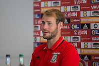 Owain Fon Williams faces the press during the Wales player media session ahead of the opening World Cup 2018 qualification match against Moldova at Hensol Castle, Vale of Glamorgan, Wales on 1 September 2016. Photo by Mark  Hawkins.