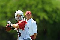 Jun 9, 2008; Tempe, AZ, USA; Arizona Cardinals quarterback Kurt Warner drops back to pass as head coach Ken Whisenhunt looks on during mini camp at the Cardinals practice facility. Mandatory Credit: Mark J. Rebilas-