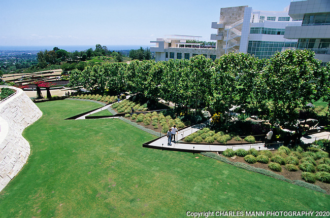The Robert Irwin garden at the new Getty Museum in Los Angeles, California, is a high concept wrok of art.