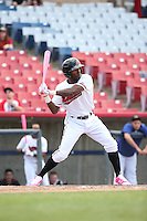 Travis Demeritte (2) of the High Desert Mavericks bats against the Rancho Cucamonga Quakes at Heritage Field on May 8, 2016 in Adelanto, California. Rancho Cucamonga defeated High Desert, 11-5. (Larry Goren/Four Seam Images)