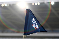 A general view of a corner flag customised with the Cardiff City emblem with a floodlight shining down onto it creating a lens flare during the Sky Bet Championship match between Cardiff City and Ipswich Town at The Cardiff City Stadium, Cardiff, Wales, UK. Saturday 18 March 2017