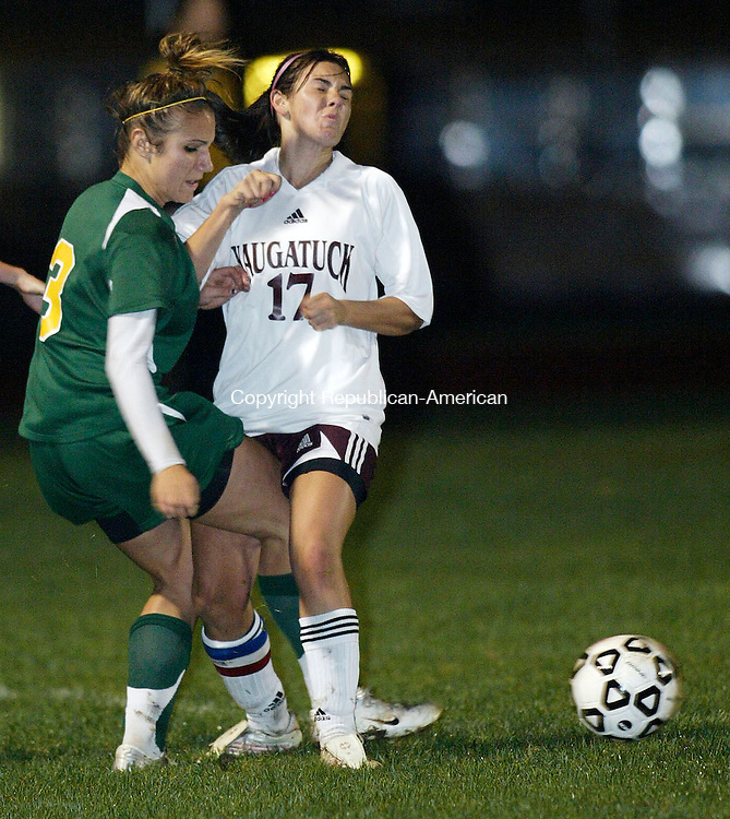NAUGATUCK, CT 10/25/07- 102507BZ10- Holy Cross's Ariana D'Aurio (3) battles Naugatuck's Melissa Verrilli (17) during their game at Naugatuck High School Thursday night.<br /> Jamison C. Bazinet Republican-American